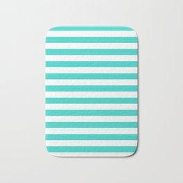 Narrow Horizontal Stripes - White and Turquoise Bath Mat