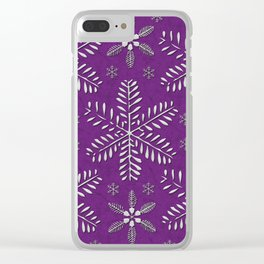 DP044-9 Silver snowflakes on purple Clear iPhone Case