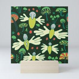 fingerflies and glowing mushrooms Mini Art Print