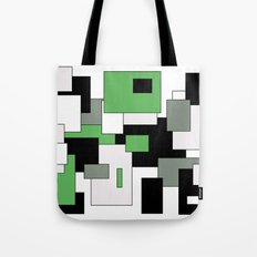Squares - green, gray, black and white. Tote Bag