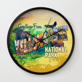Greetings From Yellowstone National Park Wall Clock