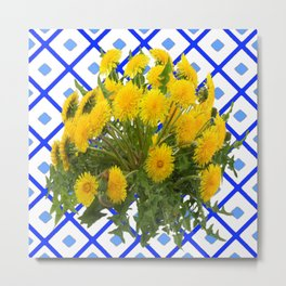 Yellow Blooming Dandelion Flowers On Delft Blue Tile Metal Print