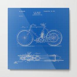 1901 G M Holley Motorcycle Patent Blueprint Metal Print