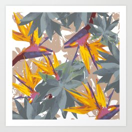 AGAVE + BIRD OF PARADISE Art Print