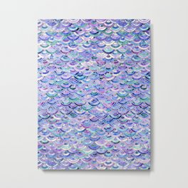 Marble Mosaic in Amethyst and Lapis Lazuli Metal Print