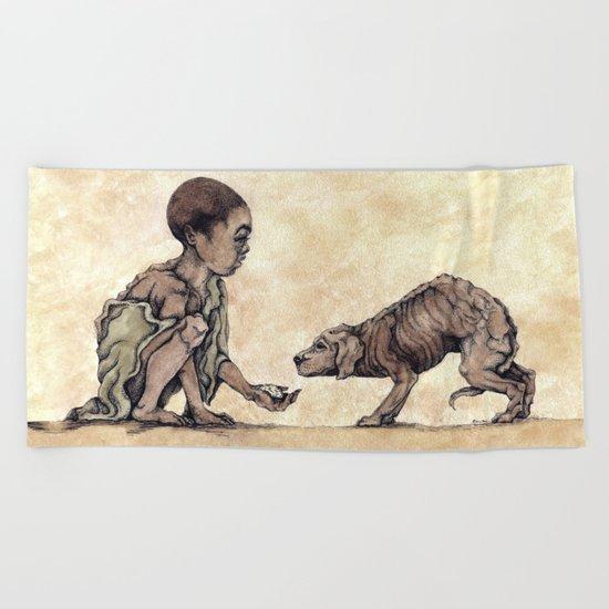 Boy and Puppy Beach Towel