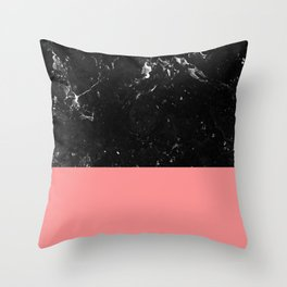 Coral Meets Black Marble #1 #decor #art #society6 Throw Pillow