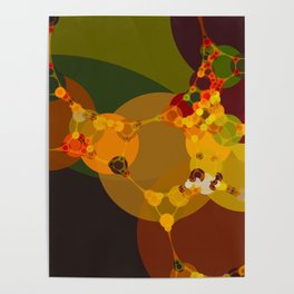 lauren - bright abstract of pea green emerald tan rust brown yellow and red Poster