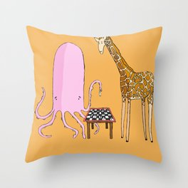 Octopus and Giraffe Throw Pillow