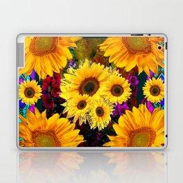FUCHSIA PURPLE  & YELLOW  SUNFLOWERS ART Laptop & iPad Skin