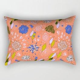 Orange Flower Pattern Rectangular Pillow