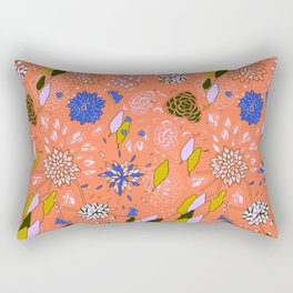Orange Flower Pattern Rectangular Pillow