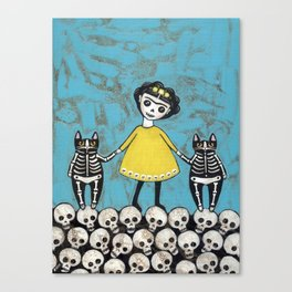 Day of the Dead Cats - Yellow Canvas Print