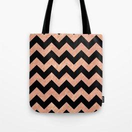 Chevron Pattern Rose Gold Tote Bag