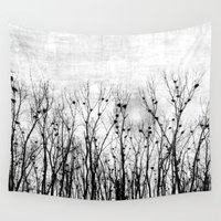 home sweet home Wall Tapestries featuring Home, Sweet Home (grayscale) by MiniMe