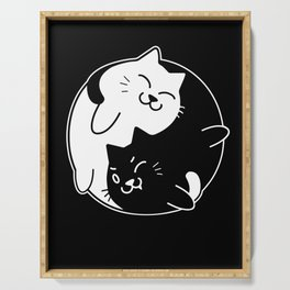 Yin Yang Cats Cute graphic for Cat Lovers Serving Tray