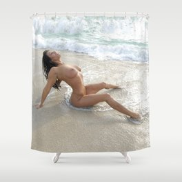 0061-SS Beautiful Naked Woman Nude Beach Sand Surf Big Breasts Long Black Hair Sexy Erotic Art Shower Curtain