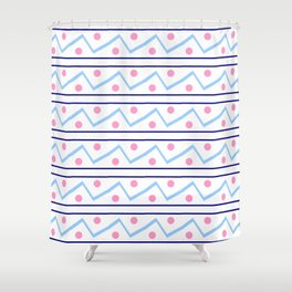 Funnies stripes VI Blue and pink Shower Curtain