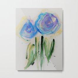 Watercolor Blue Flowers Metal Print