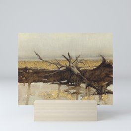 Sandy Landscape Nature Oil Painting Brown Beige Grey Yellow and Tree Abstract Realism Mini Art Print