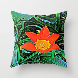 Flower of Enchanted Orange Flow Throw Pillow