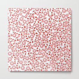 Cute Candy Holiday Pattern Metal Print