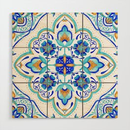 Hand Painted Moroccan Tiles - Aqua and Gold Wood Wall Art