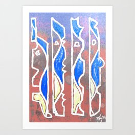 PEOPLE - Abstract cubist Art Print