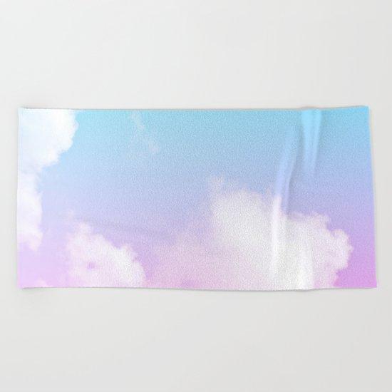 Pink Summer Clouds Beach Towel