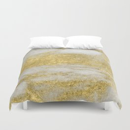 Marble - Glittery Gold Marble and White Pattern Duvet Cover