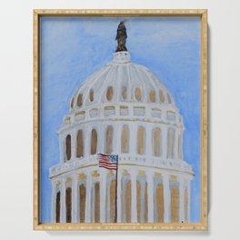 Washington DC Capitol Watercolor Serving Tray