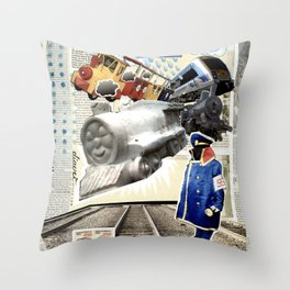 COLLAGE: Trains Throw Pillow
