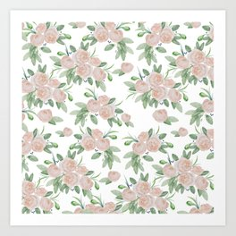 Watercolor blush coral pink forest green floral Art Print