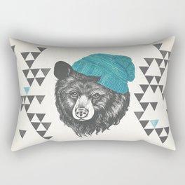 bear in blue Rectangular Pillow
