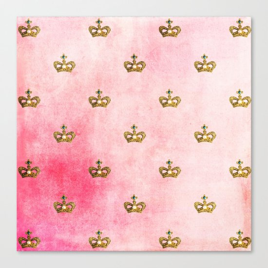 Royal Heraldy Gold crowns on pink watercolor background on #Society6 Canvas Print