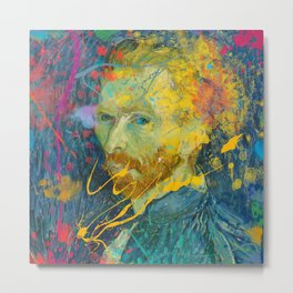 Van Gogh Street Art Dripping Remix Metal Print