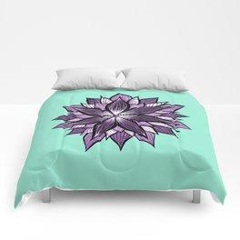 Purple Mandala Like Abstract Flower Comforters