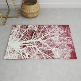 Red tree silhouette Rug