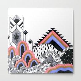 Neon Coral Landscape Metal Print