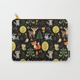 Cute Colorful Wood Animals In Forest Carry-All Pouch