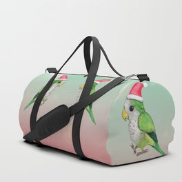 Green Christmas parrot Duffle Bag