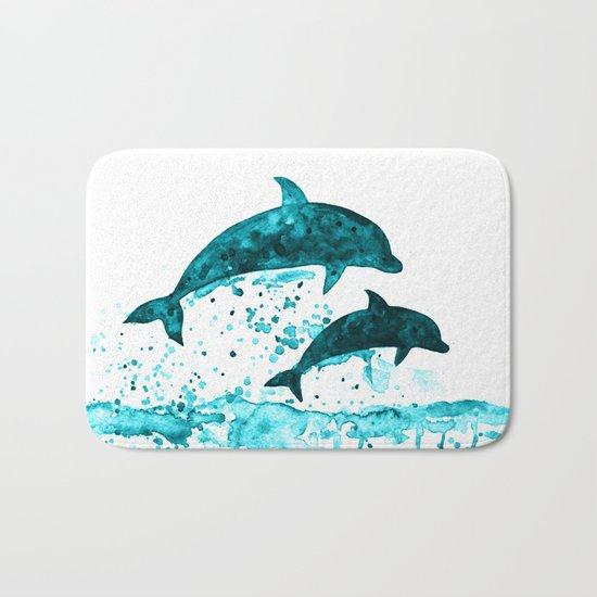 Dolphins, navy blue Bath Mat