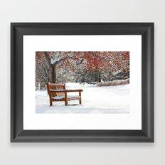 Winter Bench and Crabapple Tree Framed Art Print