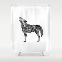 Henna-Inspired Wolf Shower Curtain
