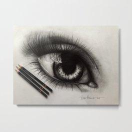3 Pencils. 1 Hour 10 Minutes Drawing an Eye Metal Print