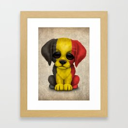 Cute Puppy Dog with flag of Belgium Framed Art Print