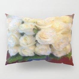 White roses in a blue vase  Pillow Sham