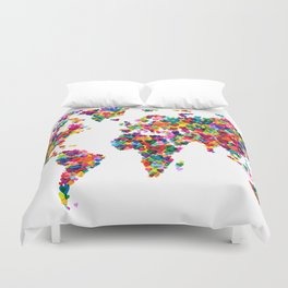 Love Hearts Map of the World Map Duvet Cover