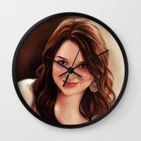 emma stone Wall Clocks featuring Emma Stone by Chanuka Hemachandra