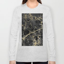 Chic black faux gold modern abstract marble Long Sleeve T-shirt